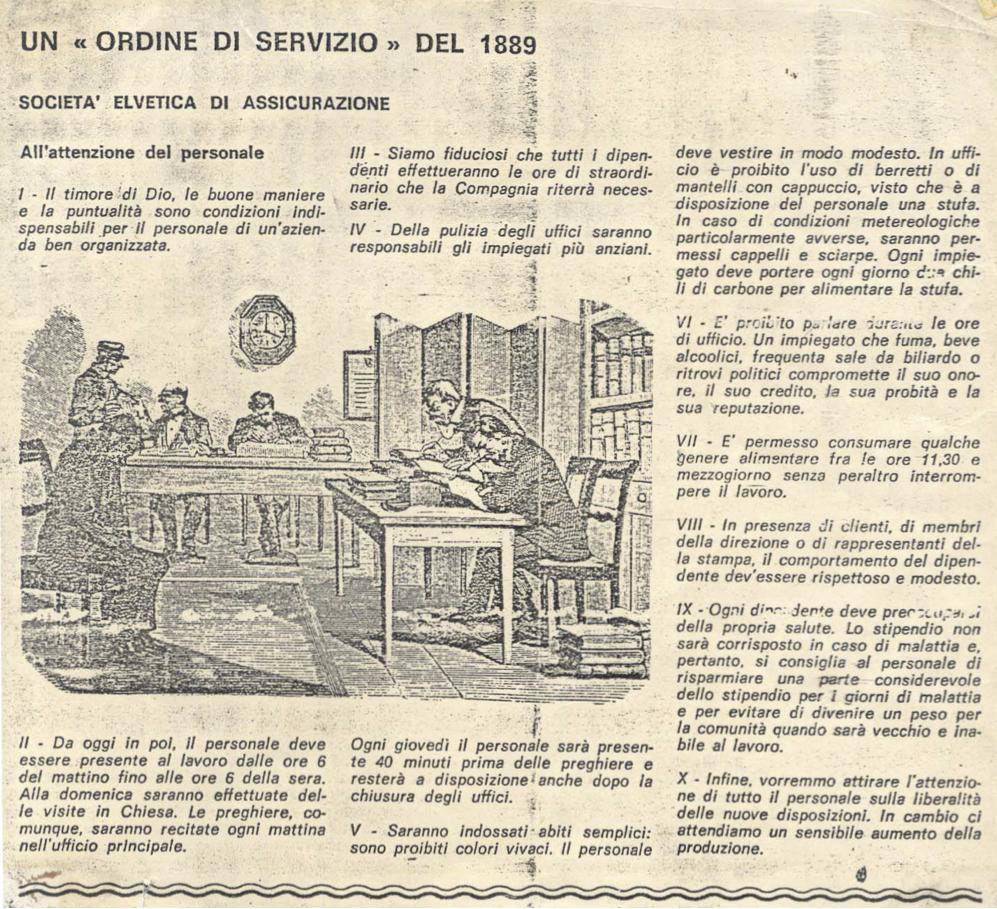 """Curiosità: un ordine di """"servizio"""" datato 1889 ci fa apprezzare la precarietà del lavoro oggi. Forse."""