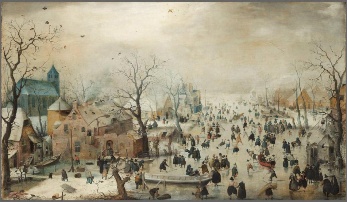 Paesaggio invernale con pattinatori Hendrick Avercamp 1608