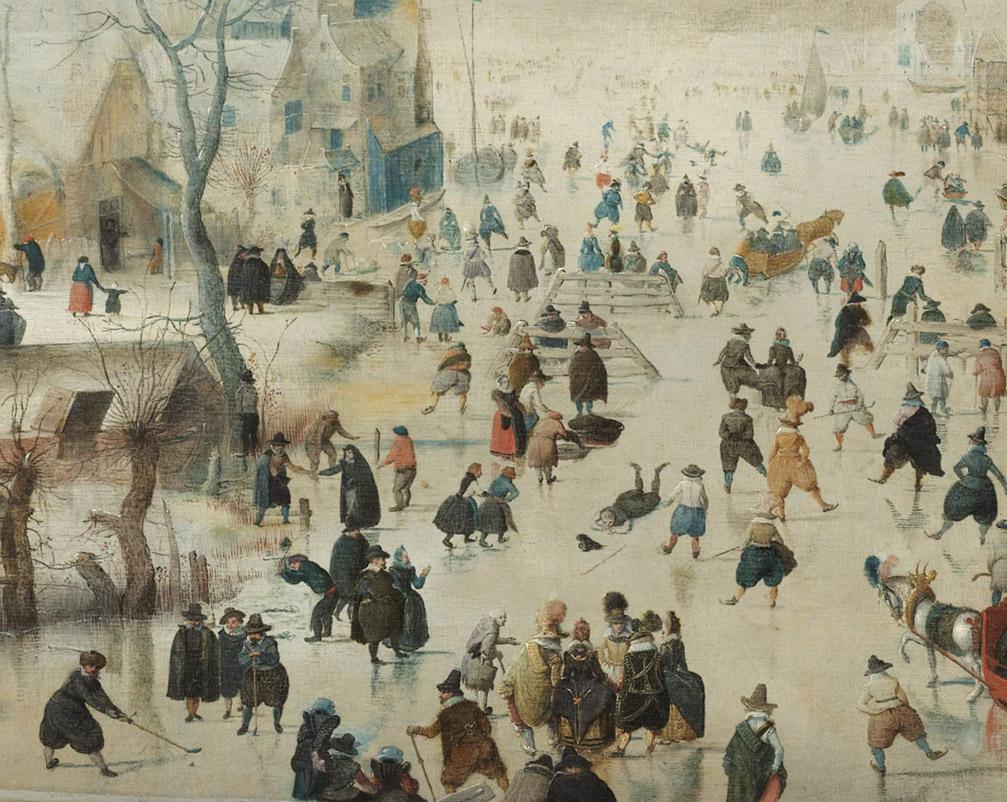 Paesaggio invernale con pattinatori, dettaglio Hendrick Avercamp,